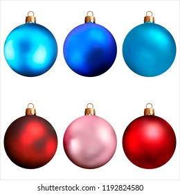 Realistic Christmas and new year tree toys. Set of balls. Isolated on white background. Vector illustration.