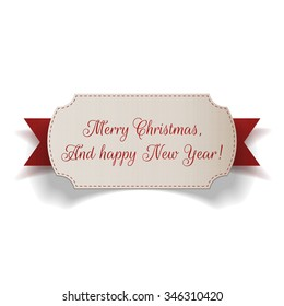 Realistic Christmas paper Label and red Ribbon on white Background. Vector Illustration