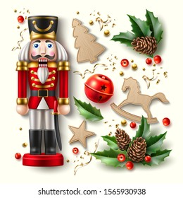 Realistic christmas symbols set. 3d nutcracker soldier, holly, ilex or mistletoe leaves with berries, gingerbread rocking horse, star and christmas tree and jingle bell. Merry christmas vector element