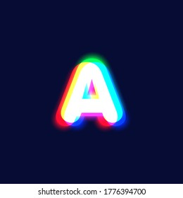 Realistic chromatic aberration character 'A' from a fontset, vector illustration