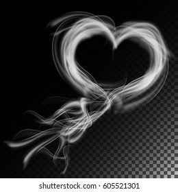 Realistic Cigarette Smoke Waves Vector.  Clouds In Heart Form.  Isolated On Checkered Background