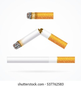 Realistic Cigarette with Traditional Filter - Long, Broken and Stub. Vector illustration