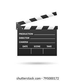 Realistic Cinema clapper, isolated on white. Movie making. Film industry. Cinematography concept. Vector illustration.