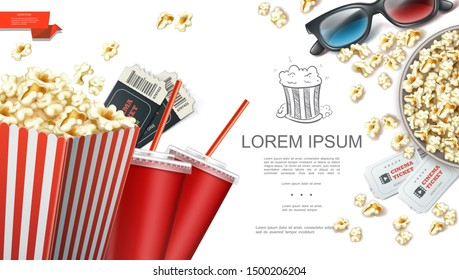 Realistic cinema elements background with 3d glasses tickets paper bag and bucket of popcorn soda cups vector illustration