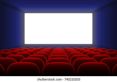 Realistic cinema hall interior with blank white screen and red seats vector illustration. Cinema show with white screen empty
