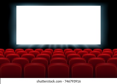 Realistic cinema hall interior with red seats. Cinema movie premiere poster design with empty white screen. Vector illustration.