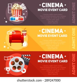 Realistic cinema movie cards template with film reel, clapper, popcorn, 3D glasses, concept banners