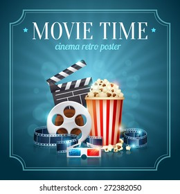 Realistic cinema movie poster template with film reel, clapper, popcorn, 3D glasses, conceptbanners with bokeh