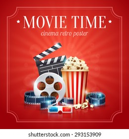 Realistic cinema movie poster template with film reel, clapper, popcorn, 3D glasses, with bokeh background
