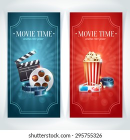 Realistic cinema movie poster template with film reel, clapper, popcorn, 3D glasses, concept banners with bokeh