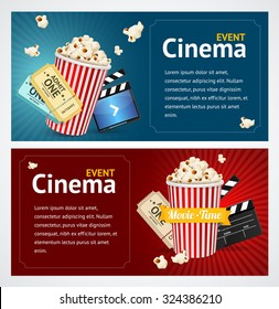 Realistic Cinema Movie Poster Template. Horizontal Set. Vector illustration