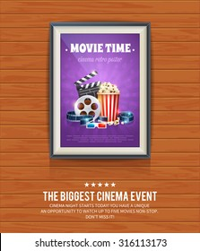 Realistic cinema poster in a wooden picture frame hanging on a textured wooden wall, movies template for mockup, banner and artwork