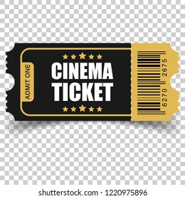 Realistic cinema ticket icon in flat style. Admit one coupon entrance vector illustration on isolated background. 3d ticket business concept.