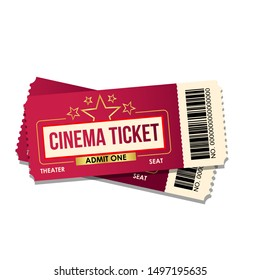 Realistic cinema ticket icon in flat style. Admit one coupon entrance vector illustration on white isolated background.