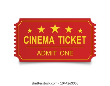 Realistic cinema ticket on the white backgraund. Vector illustration