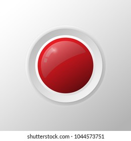 realistic circle red button with metallic elements,