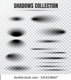 Realistic circular shadow effect vector set. Separate components on a transparent background.