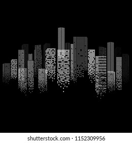 Realistic Cityscape Panorama in Digital Futuristic Design. Night Life Scene with Skyscrapers Isolated on Black Background. Vector Illustration