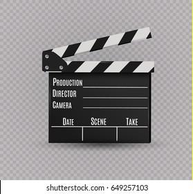 Realistic clapper.cinema.Board.film.vector illustration.