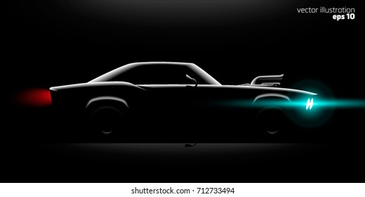 realistic classic car coupe with a supercharger side view lighting in the dark