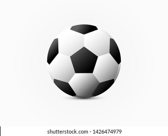 Realistic classic soccer football on white background.