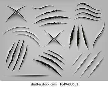 Realistic claw scratch. Paper cut and scratch animal claw, rough holes in flat surface, fabric or paper. Animal paw marks vector illustrations. Beast attack marks as cat, dog, tiger or lion