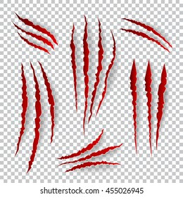 Realistic claw scratches. Vector set on plaid background. Scratch claw animal and illustration shred from claw