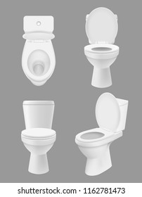 Realistic clean toilet. White bowls in bathroom or washing room various views of close up toilet. Vector hygiene concept pictures. Toilet clean hygiene, sanitary wc bathroom illustration