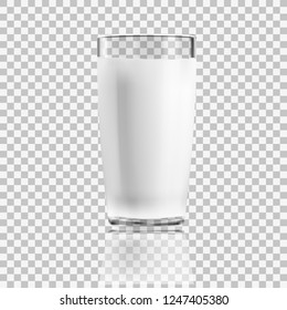 Realistic Clear Glass Of Milk Isolated On Background. EPS10 Vector