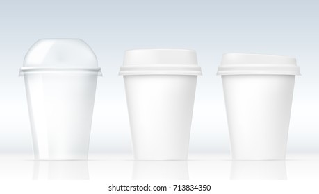 Realistic Clear Plastic Cups Set. White Or Transparent Ones. EPS10 Vector