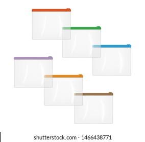 Realistic clear plastic zip envelope bag, vector mockup set. Transparent file jacket, mock-up. Zipper document case, template.