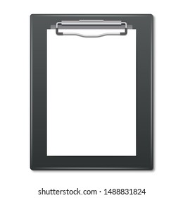 Realistic clipboard with blank white sheet of paper for your copy. Template for any type of business, medical or corporate identity. Vector illustration.