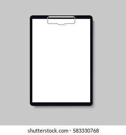 Realistic clipboard folder with blank white sheet of paper mock up. Vector