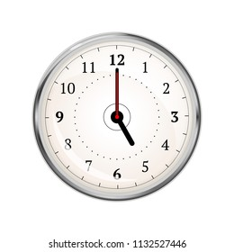 Realistic clock face showing 05-00 isolated on white