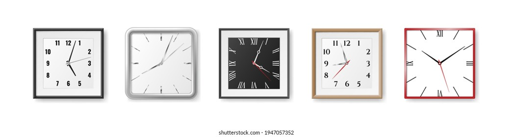 Realistic clocks set. Modern white square wall watch with white and black watch face and arrows. Deadline timer, classic office watches. 3d vector illustration