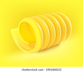 Realistic close up butter curl. Vector illustration isolated on white background. Ready for your design. EPS10.