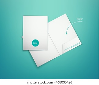 Realistic closed and open white presentation folder on a turquoise background with shadows. Vector illustration of corporate folder. Realistic mock-up.