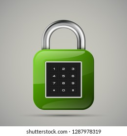 realistic closed padlock. Steel Mechanical Combination lock. Privacy padlock illustration. Enter the PIN code. Electronic lock icon. Reliable Protection close padlock badge. Code combination symbol