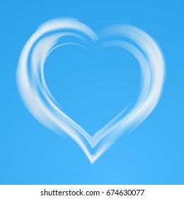 Realistic cloud heart with transparency. Valentine day card. Vector illustration.