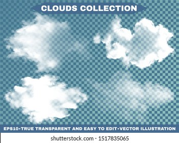 Realistic clouds on a blue heavenly background. Fluffy template with soft colors. Vector illustrations kit. White transparent, isolated elements for design. Thunderclouds or smoke.