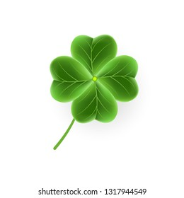 Realistic Clover leaf icon for St. Patricks Day holiday. Lucky shiny flower isolated on white background. Vector illustration