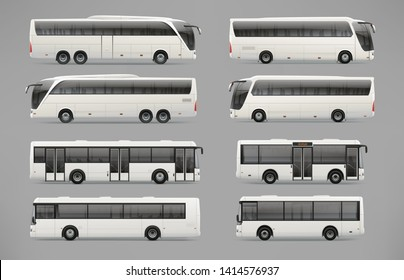 Realistic Coach bus and travel passenger bus - blank mock-ups template isolated on grey background. Travel Passenger and mini Bus for brand identity design. Realistic Bus template for advertising