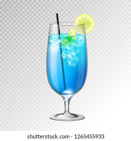 Realistic cocktail blue lagoon glass vector illustration on transparent background