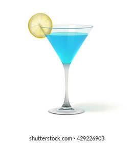 Realistic Cocktail Glass With Lemon, Vector EPS10 Illustration