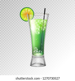 Realistic cocktail mojito glass vector illustration on transparent background
