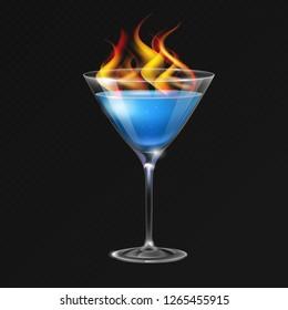 Realistic cocktail sambuca glass vector illustration on transparent background