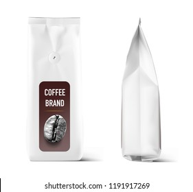 Realistic coffee bag mock up with degassing valve isolated on white background. Front, side. Easy to use for your design, presentation, adv. Vector illustration. EPS10.