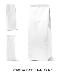 Realistic coffee bag mockup with degassing valve isolated on white background. Front, side and 3/4 view. Easy to use for your design, presentation, adv. Vector illustration. EPS10.