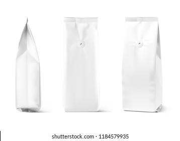 Realistic coffee bag mockup isolated on white background. Front and side view. Easy to use for your design, presentation, adv. Vector illustration. EPS10.