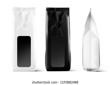 Realistic coffee bag mockup isolated on white background. Front, side view. Easy to use for your design, presentation, adv. Vector illustration. EPS10.